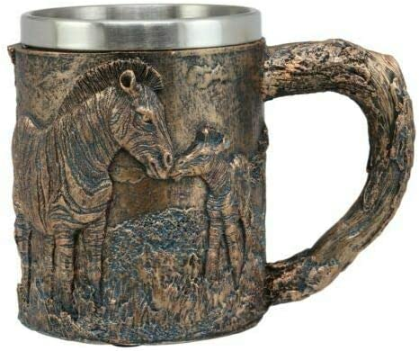 Safari Zebra Horse Max 60% Boston Mall OFF with Foal Textured Mug Rustic Tre Coffee