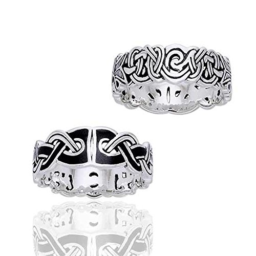 Mammen Weave Viking Knot Wedding Band Norse Celtic Sterling Silver Ring Size 9(Sizes 4,5,6,7,8,9,10,11,12,13,14,15)