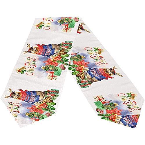 sunnee-shop Vrolijk Kerst-uilen-sneeuwvlok lange tafelloper, winterkous rechthoekig tafelkleedloper