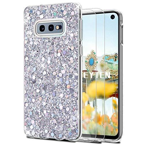 Feyten Coque Galaxy S10e avec Film de Protection écran [Lot de 2], Mince Brillant Bling Paillettes Anti-Rayures Antichoc TPU Silicone Souple Housse pour Samsung Galaxy S10e (Argent)