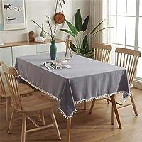 長方形テーブルクロスシンプルな洗浄綿テーブルクロス白い豪華なボールタッセルテーブルカバー用キッチンテーブルビュッフェ装飾,白,140*250cm/55*98in