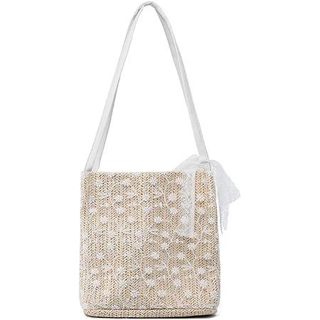 Ulisty Klein Stroh Tasche Weben Tasche Schultertasche Handtasche Beuteltasche für Frauen/Mädchen Beige