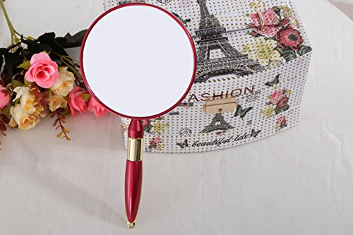 XPXKJ Handheld Mirror with Handle,Handheld Double Sided Mirror Excellent 3X Magnification on 1 Side and Regular on The Other Side (Two-Sided Red, Circular Magnifying Glass)