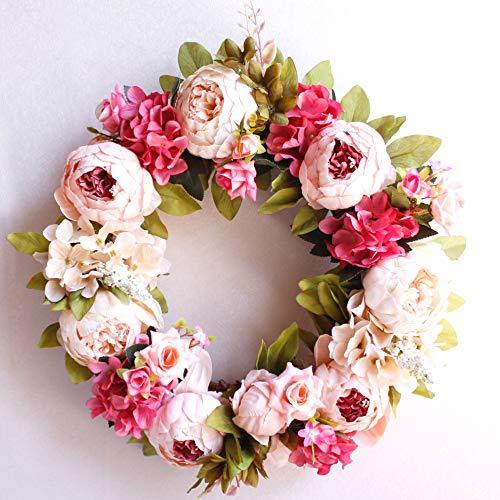 Dseap Wreath - 17-Inches, Peony Flower: Decorative Artificial Flower Wreath, Faux Floral Wreath for Front Door Window Wedding Outdoor Indoor - Round, Pink & White