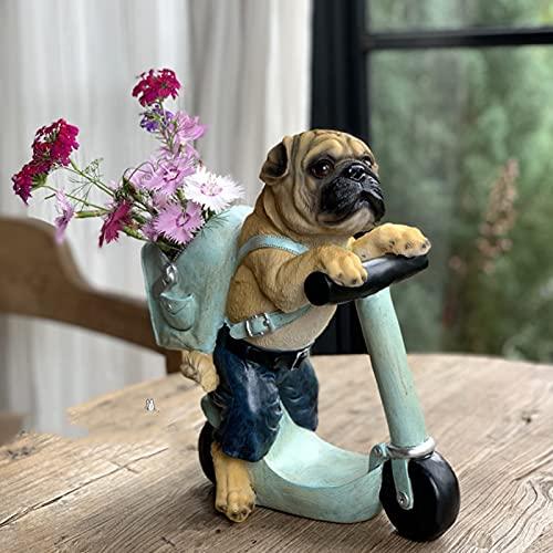 HZRKJ Statua di Cucciolo di Scooter, Scultura di Cane all'aperto da 11,8 Pollici, figurina di Arte di Cucciolo Carino, Decorazione di Cane da Giardino in Resina, Miniature di Cane da Giardino
