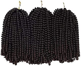 3 Pack Spring Twist Ombre Colors Crochet Braids Synthetic Braiding Hair Extensions Low Temperature Fiber (#1B/33)