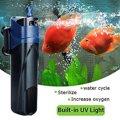 ZAK168Pompe à air pour Aquarium, stérilisateur UV Pompe à oxygène Pompe Submersible Filtre Cycle de l'eau pour Aquarium Fontaine étang Fish Tank Pompe de Fonction d'eau