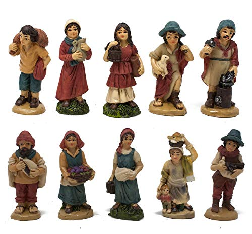 Joy Christmas Pastori in Resina 5 cm per Presepe Confezione da 12 Pezzi - 49581