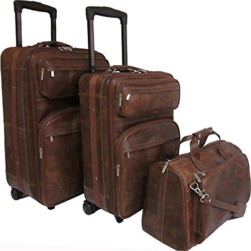 Amerileather Waxy Brown Leather Three Piece Set Traveler