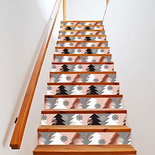 QWEN Weihnachten Treppenaufkleber Singtree Festival Schritte Renoviert PVC Dekorative Wandbild 18X100Cmx13Pcs