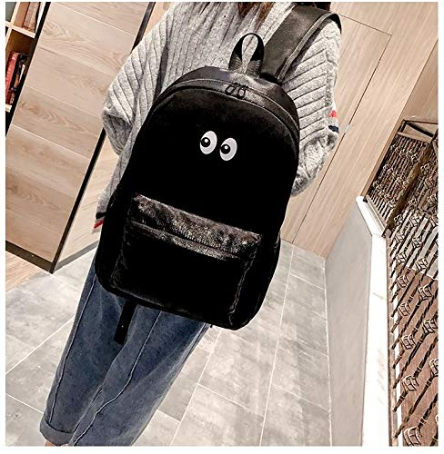 SunLSunLiHao Doppel Schultern Schultasche Reise Backpackage Tasche Doppel-Reißverschluss (Color : Black)