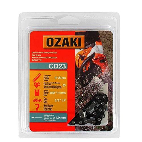 Ozaki - Cadena de motosierra, semicuadrada, con carcasa de 3/8LP – .043 (1,1 mm) – 33 entrenadores – Longitud: 20 cm