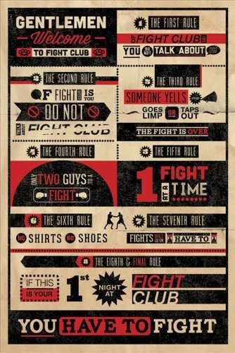Grupo Erik Fight Rules, Poster Figt Club, 61 x 91 cm, 2