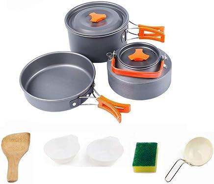 Marmite-Set 2 personnes Léger Casseroles Set alu poli Camping Vaisselle