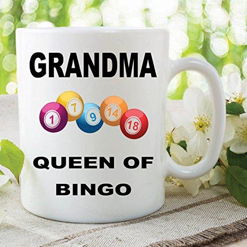 Taza de bingo para abuela, taza de café de bingo, taza de té novedosa, taza de té para abuelas, regalos de amante del bingo, taza blanca brillante, el mejor regalo de Navidad de 325 ml