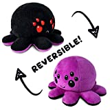 TeeTurtle | The Original Reversible Big Spider Plushie | Patented Design | Black and Purple | Show Your Mood Without Saying a Word! , Purple/Black