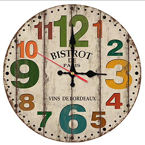 Cyalla Top Venta De Estilo Antiguo Relojes De Pared Reloj De Cuarzo Reloj De Madera De Bambú Europa Decoración del Hogar Bodegón Sala De Estar Pegatinas 12 Pulgadas