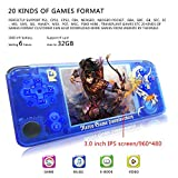 MJKJ Handheld Game Console , Retro Game Console OpenDingux Tony System , Built-in 3007 Classic Game Console 3 Inch IPS Screen Portable Video Game Console - Transparent Blue