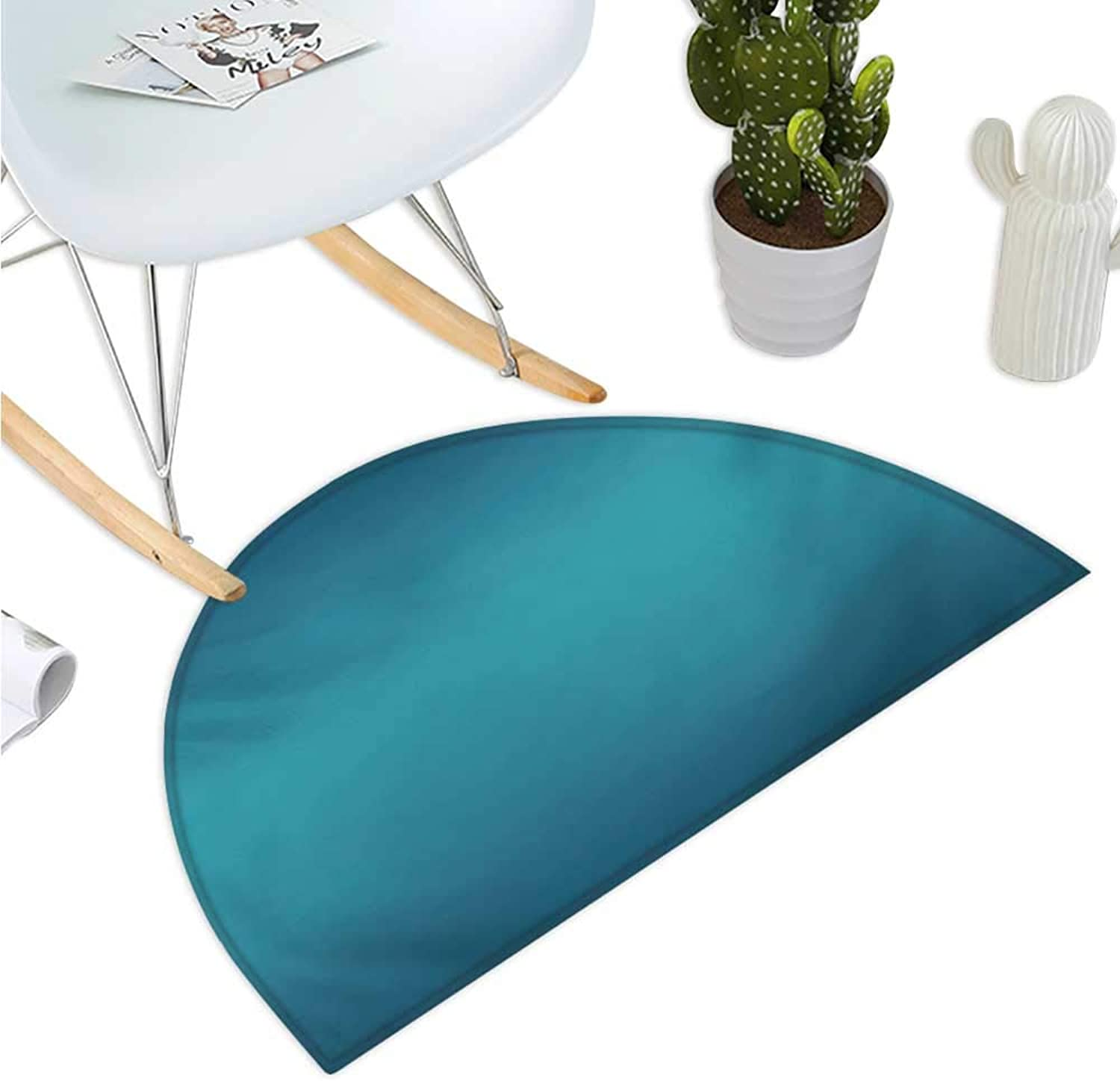 Ombre Half Round Door mats Deep bluee Tropical Ocean Exotic Lands Inspired Design Modern Digital Print Bathroom Mat H 35.4  xD 53.1  Petrol bluee