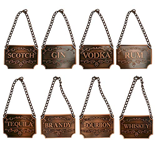 Homend Liquor Decanter Tags, Deluxe Set of Liquor Tags for Bottles or Decanters, Set of Eight With Adjustable Chain Features - Whiskey, Bourbon, Scotch, Gin, Rum, Vodka, Tequila and Brandy (Copper)
