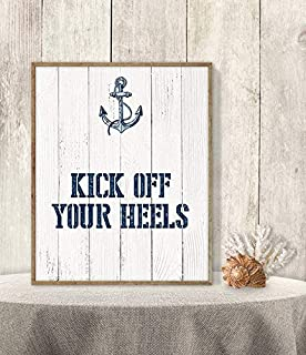 Les Connie Kick Off Your Heels Flip Flop Basket Sign Framed Wedding Dance Poster Nautical Navy Anchor Nautical Planks 11x14