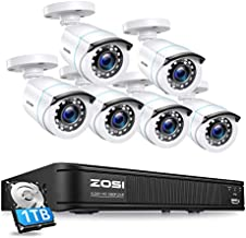 ZOSI 1080p Home Security Camera System Outdoor Indoor, H.265+ 5MP Lite CCTV DVR Recorder 8 Channel with Hard Drive 1TB and 6 x 1080p Weatherproof Surveillance Bullet Camera, 80ft Night Vision