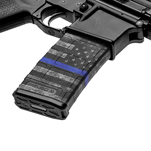 GunSkins AR-15 Mag Skins - 3 Pack - Premium Vinyl Mag Wraps - Easy to Install and Fits 30rd Magazines - 100% Waterproof Non-Reflective Matte Finish - Made in USA - GS Thin Blue Line