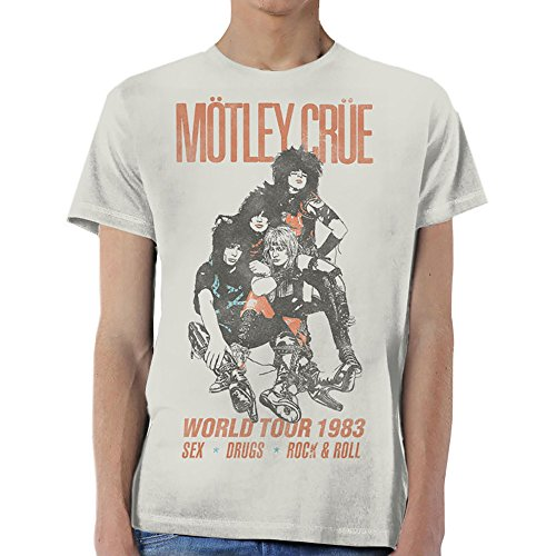 Motley Crue World Tour 1983 Rock Oficial Camiseta para Hombre