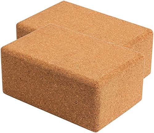 WTTX Cork Wood - Bloque de yoga de ladrillo de yoga de alta densidad, 24 x 16 x 8,8 cm, para yoga y pilates, para principiantes y avanzados, 2 unidades