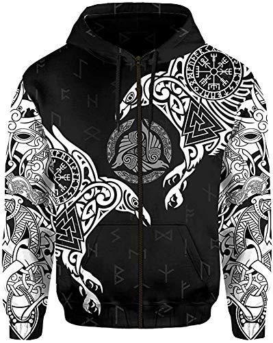DFWY 3D Impreso nórdico Vikingo ygggrasil y Cuervos Tatuaje chándal Sudadera con Capucha, Unisex Manga Larga Streetwear Casual Sudadera con Capucha (Color : White Zipper, Size : XXXXX-Large)
