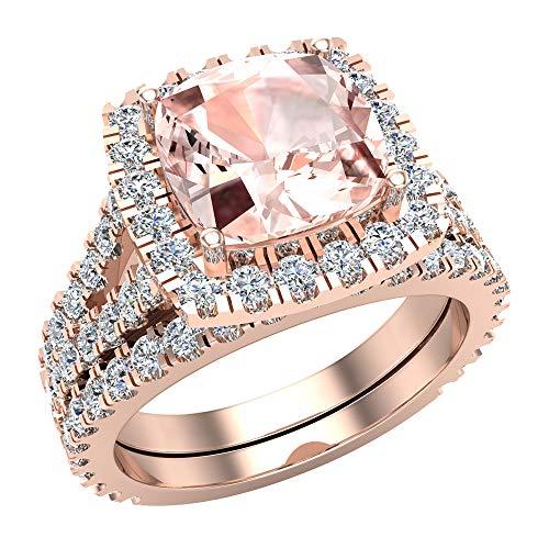 Anillo de compromiso con halo de morganita rosa de corte cojín con vástago dividido con anillo de boda de oro rosa de 14 quilates de 3,40 quilates (I,I1)