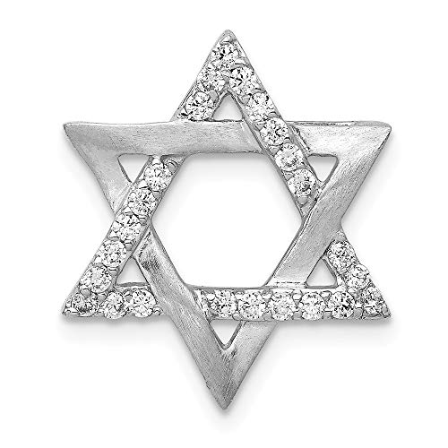 Jewels By Lux 14k White Gold 1/4ct. Diamond Star Of David Chain Slide (0.25 Ct Diamond Star)