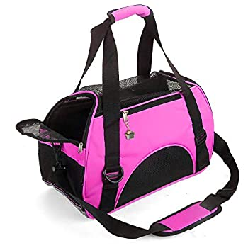 ZaneSun Cat Carrier,Soft-Sided Pet Travel Carrier for Cats,Dogs Puppy Comfort Portable Foldable Pet Bag Airline Approved  Small Rose red