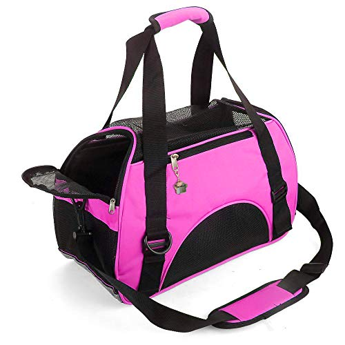 ZaneSun Cat Carrier,Soft-Sided Pet Travel Carrier for Cats,Dogs Puppy Comfort Portable Foldable Pet Bag Airline Approved (Small Rose red)