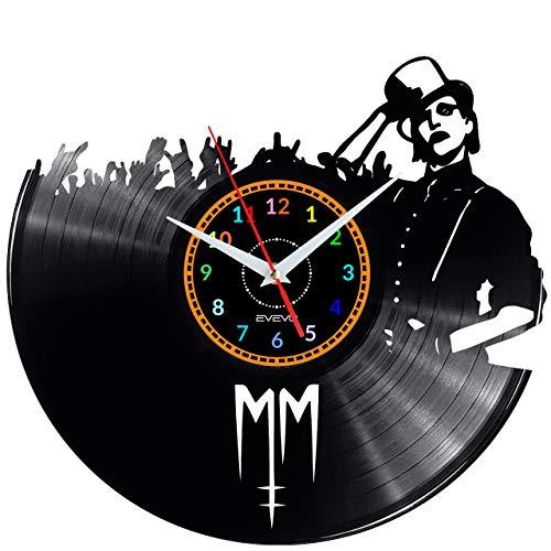 EVEVO Marilyn Manson Horloge murale en vinyle rétro faite à la main Style vintage Décoration de la maison Superbe cadeau Horloge murale Marilyn Manson