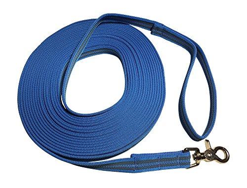 DOGS and MORE - Gummierte Schleppleine/Suchleine/Feldleine mit Reflektionsstreifen => 10 Meter (mit Handschlaufe) - Orange, Blau oder Lila