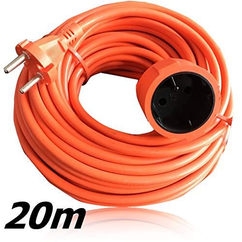 Benson verlengkabel voor buiten, 230 V, weerbestendig, verlenging met enkel stopcontact, 20 meter, oranje, extreem duurzaam en flexibel
