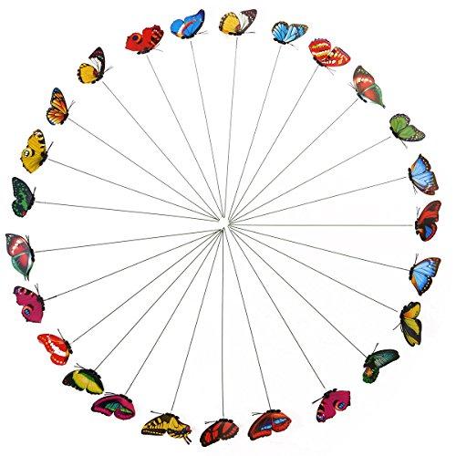 Yardwe Mariposa Artificial del jardín de la Mariposa de 25pcs Mariposa Decorativa 3D para el Prado del jardín de la Tienda casera (Color al Azar)
