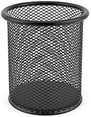 D.RECT 7613, Portapenne in rete metallica, Portamatite da scrivania di forma rotondo, Ø 91mm, olore: nero