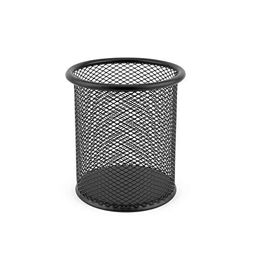 D.RECT LEVIATAN 7613 Portalápices de malla metálica redondo | Portalápices de escritorio, estable | color negro | diámetro de 91 mm