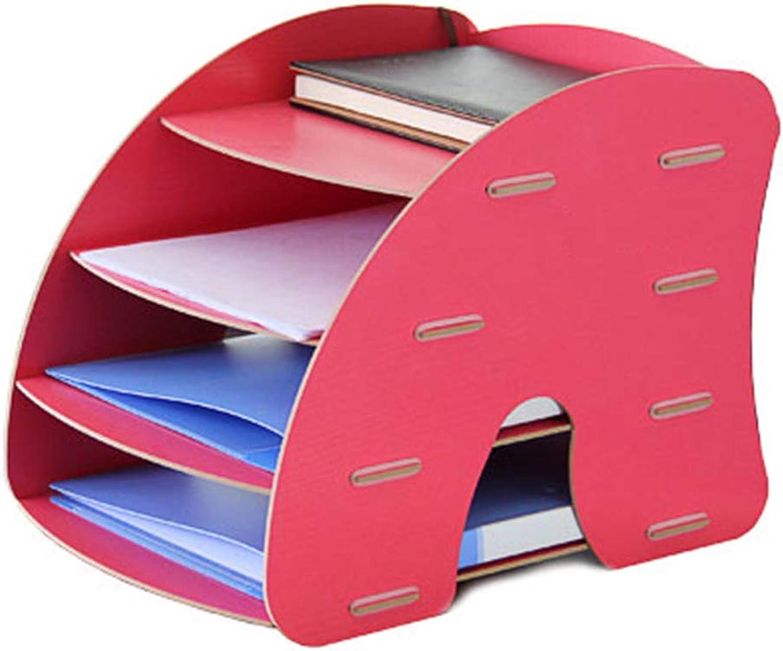 Bookcase,Wooden Desktop Bookshelf Desktop Organizer Storage Rack Multi-Layer File Shelf,Red,26  38  28cm