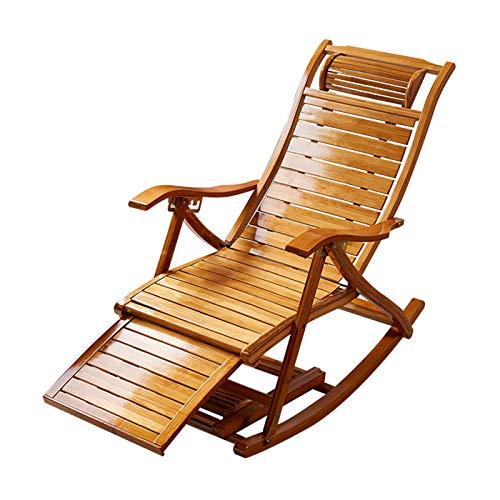 Foldable Wooden Rocking Chairs Sun Lounger Chairs Recliners Outdoor Bamboo Rocker, With Armrest Foot Massage Pillow(Color:Without cushion)
