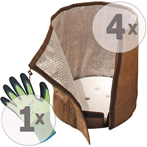Preisvergleich Produktbild Gardopia Sparpaket - 4 x BioGreen Topf-Schutz KS50 L Winterschutz,  H50cm x D45cm,  100 g / m² Vlies,  Plus GRATIS Handschuhe MultiSeason OptiFlex