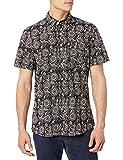 Goodthreads Standard-Fit Short-Sleeve Printed Poplin Shirt Camisa, Impresión de medallón Negro, XXL