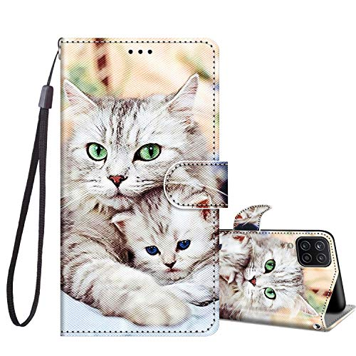 JRIANY Klapphüllen für Samsung Galaxy A12 / M12 Leder Hülle, Handy Lederhülle PU Silikon Flip Hülle Cover Brieftasche Handytasche [ Kartenfach Klappbar ] Stoßfest Schutzhülle, Süße Katze