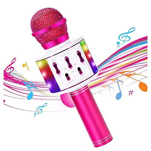 Micrófono Karaoke Bluetooth, 4 en 1 Microfono Inalámbrico Portátil altavoz con Luces LED para Niños Canta Partido Musica, Función de Eco, Compatible con Android/iOS PC