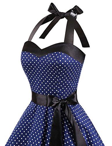Dresstells Neckholder Rockabilly 50er Polka Dots Punkte 1950er Kleid Petticoat Faltenrock Navy White Dot M - 6