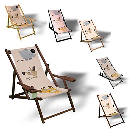 Printalio - Hunde - Liegestuhl Bedruckt Balkon Garten Sonnenliege Relax Holz Terrasse | Kinderliegestuhl, Dunkelbraun