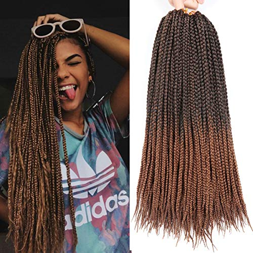 7 Packs 18 Inches Medium Box Braids Hair Ombre Crochet Hair Extensions Crochet Braids Hair Kanekalon Jumpo Braiding Hair 20 Strands/pack (18 Inch, 1B/30)