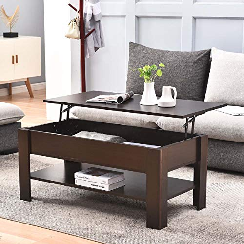Farelves Coffee Table with Storage Lift UP Top Coffee Table For Living Room Wood Fold Top Side End Table Modern Tea Table Reception Room (Brown)